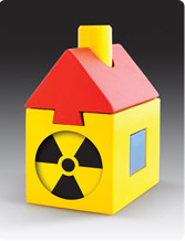 Racine Health Department Radon Symbol recommends testing homes for radon and mitigation when necessary